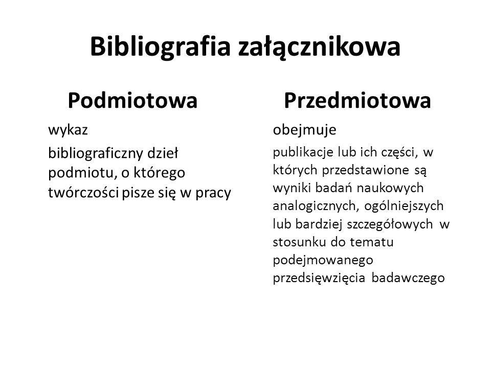 Bibliografia załącznikowa Podmiotowa wykaz bibliograficzny dzieł podmiotu, o którego twórczości pisze się w pracy Przedmiotowa obejmuje publikacje lub
