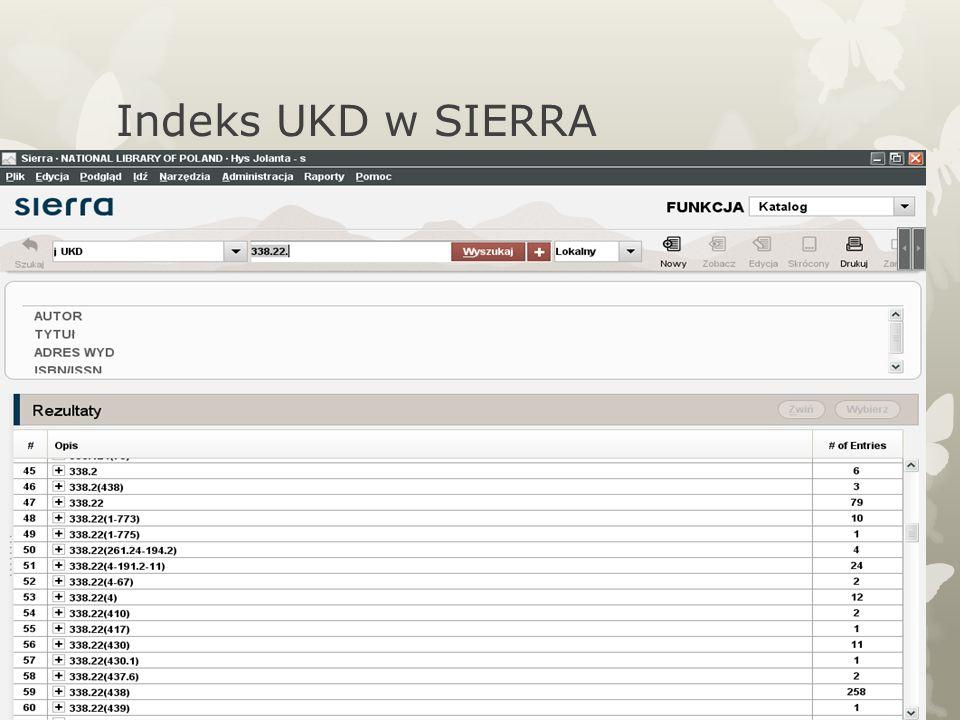Indeks UKD w SIERRA