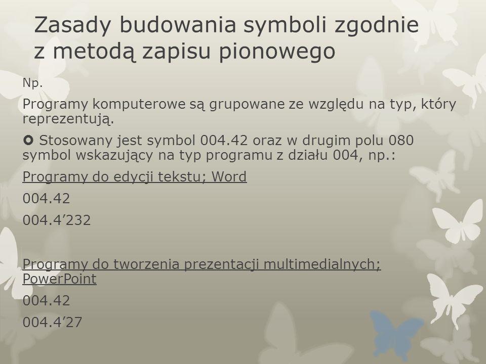 Zasady budowania symboli zgodnie z metodą zapisu pionowego Np. Programy komputerowe są grupowane ze względu na typ, który reprezentują. Stosowany jest