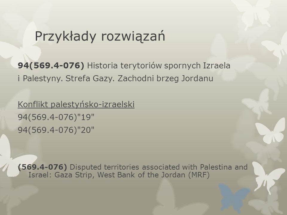 Przykłady rozwiązań 94(569.4-076) Historia terytoriów spornych Izraela i Palestyny. Strefa Gazy. Zachodni brzeg Jordanu Konflikt palestyńsko-izraelski