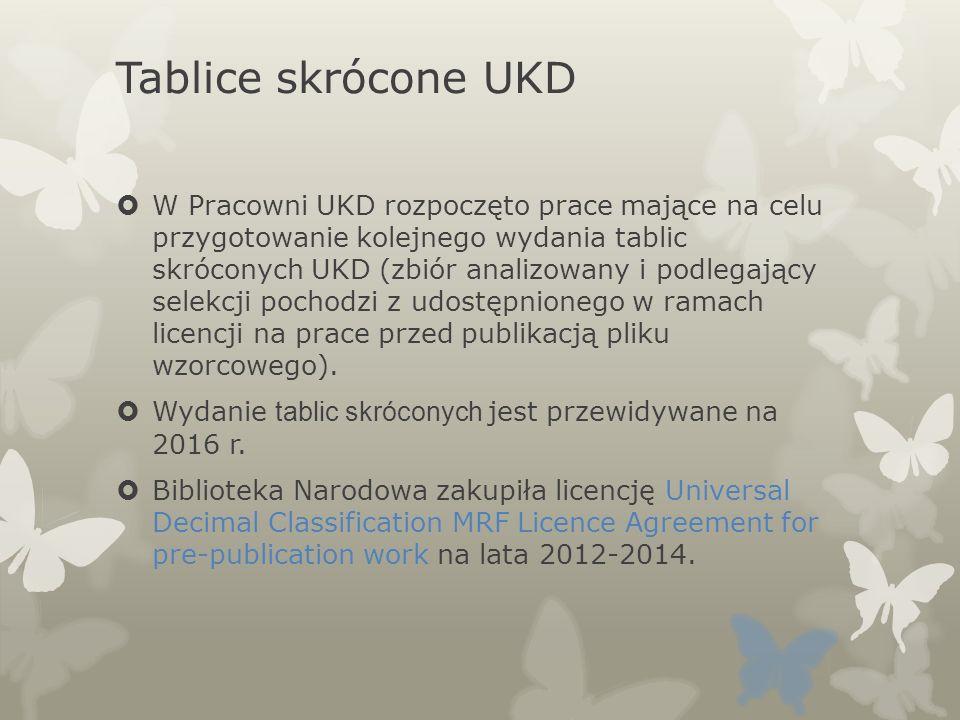 Tablice skrócone UKD W Pracowni UKD rozpoczęto prace mające na celu przygotowanie kolejnego wydania tablic skróconych UKD (zbiór analizowany i podlega