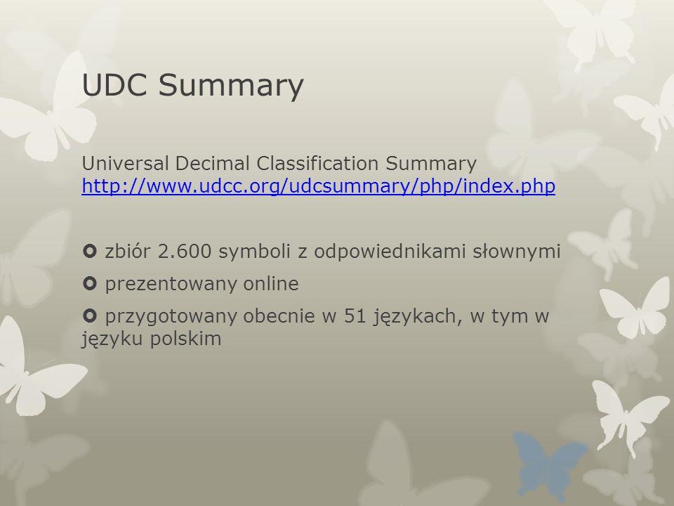 UDC Summary Universal Decimal Classification Summary http://www.udcc.org/udcsummary/php/index.php http://www.udcc.org/udcsummary/php/index.php zbiór 2