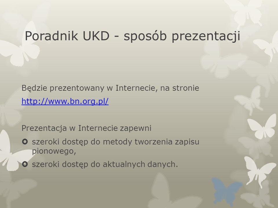 Poradnik UKD - sposób prezentacji Będzie prezentowany w Internecie, na stronie http://www.bn.org.pl/ Prezentacja w Internecie zapewni szeroki dostęp d