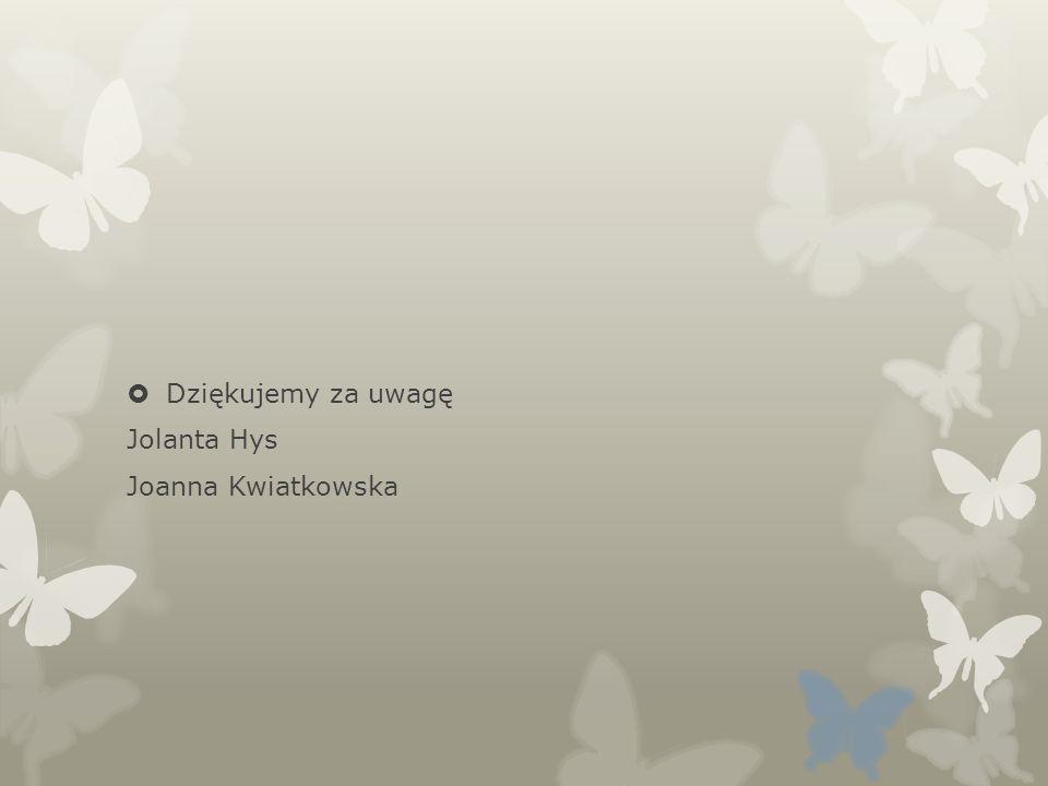 Dziękujemy za uwagę Jolanta Hys Joanna Kwiatkowska