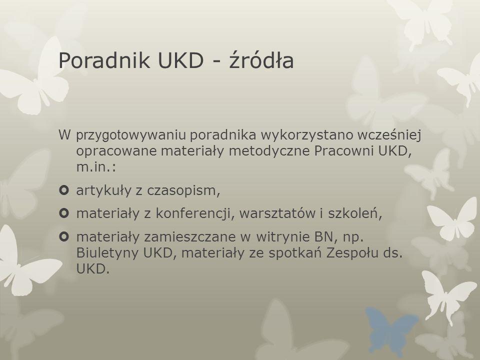 Poradnik UKD - źródła W przygoto wywaniu poradnika wykorzystano wcześniej opracowane materiały metodyczne Pracowni UKD, m.in.: artykuły z czasopism, m