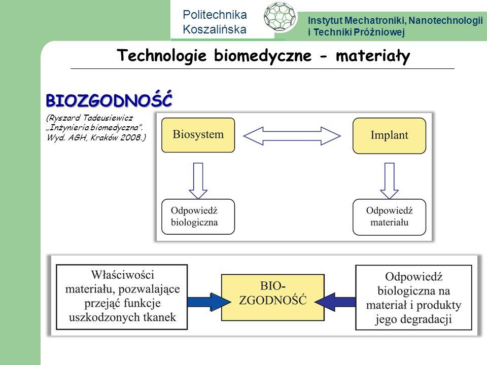 Instytut Mechatroniki, Nanotechnologii i Techniki Próżniowej Politechnika Koszalińska Technologie biomedyczne - materiały BIOZGODNOŚĆ (Ryszard Tadeusi