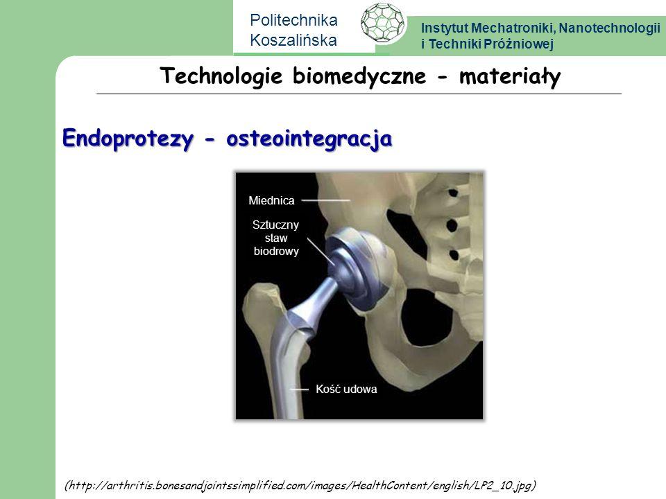 Instytut Mechatroniki, Nanotechnologii i Techniki Próżniowej Politechnika Koszalińska Technologie biomedyczne - materiały Endoprotezy - osteointegracj