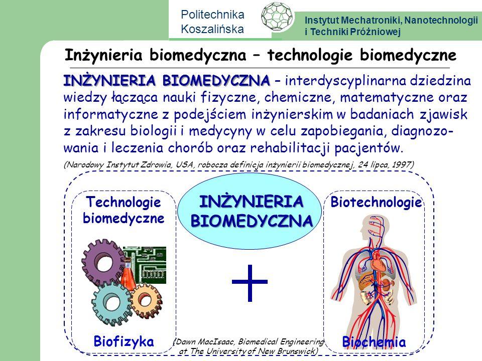 Instytut Mechatroniki, Nanotechnologii i Techniki Próżniowej Politechnika Koszalińska Inżynieria biomedyczna – technologie biomedyczne Instrumentarium biomedyczne Sprzęt rehabilitacyjny Obrazowanie medyczne Elektronika i informatyka medyczna BiomechanikaBiotechnologie Inżynieria kliniczna BiomateriałyErgonomika INŻYNIERIA BIOMEDYCZNA