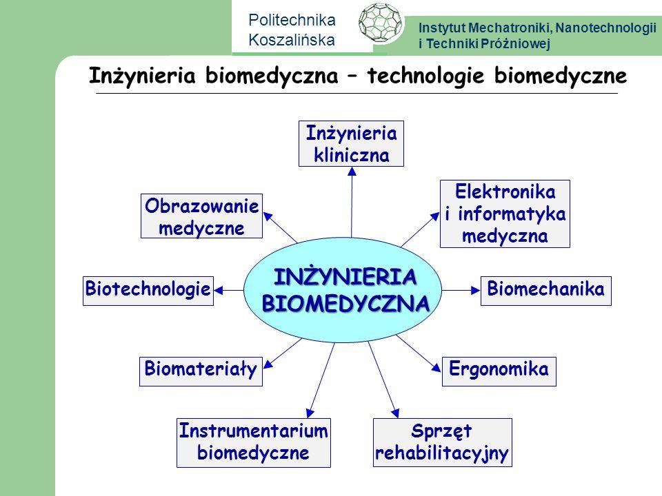 Instytut Mechatroniki, Nanotechnologii i Techniki Próżniowej Politechnika Koszalińska Technologie biomedyczne - mechatronika Prof.