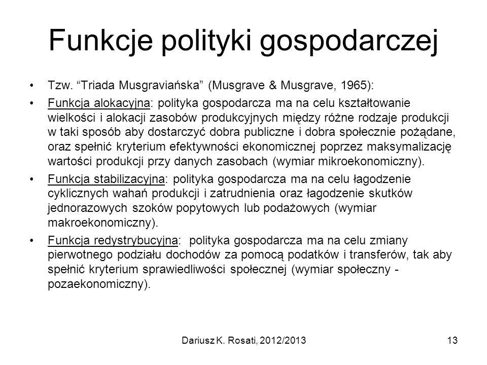 Funkcje polityki gospodarczej Tzw. Triada Musgraviańska (Musgrave & Musgrave, 1965): Funkcja alokacyjna: polityka gospodarcza ma na celu kształtowanie