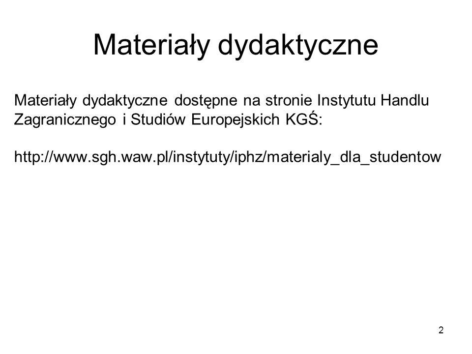 Materiały dydaktyczne Materiały dydaktyczne dostępne na stronie Instytutu Handlu Zagranicznego i Studiów Europejskich KGŚ: http://www.sgh.waw.pl/instytuty/iphz/materialy_dla_studentow 2