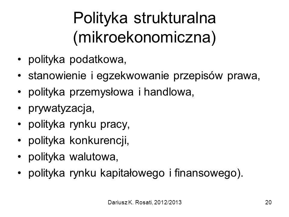 Polityka strukturalna (mikroekonomiczna) polityka podatkowa, stanowienie i egzekwowanie przepisów prawa, polityka przemysłowa i handlowa, prywatyzacja, polityka rynku pracy, polityka konkurencji, polityka walutowa, polityka rynku kapitałowego i finansowego).