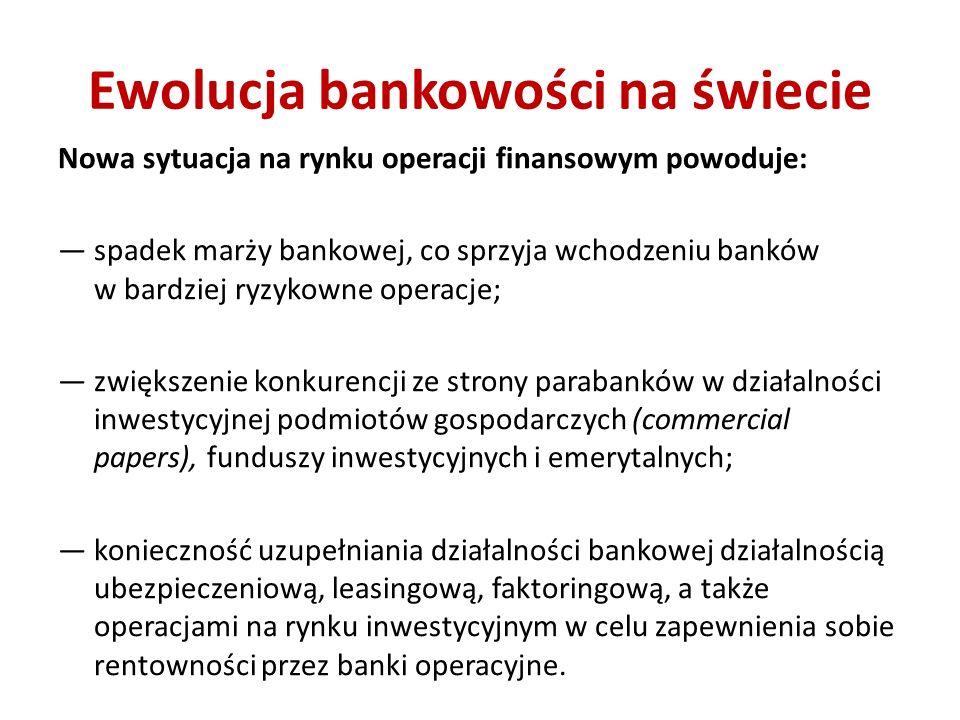 Ewolucja bankowości na świecie Nowa sytuacja na rynku operacji finansowym powoduje: spadek marży bankowej, co sprzyja wchodzeniu banków w bardziej ryzykowne operacje; zwiększenie konkurencji ze strony parabanków w działalności inwestycyjnej podmiotów gospodarczych (commercial papers), funduszy inwestycyjnych i emerytalnych; konieczność uzupełniania działalności bankowej działalnością ubezpieczeniową, leasingową, faktoringową, a także operacjami na rynku inwestycyjnym w celu zapewnienia sobie rentowności przez banki operacyjne.