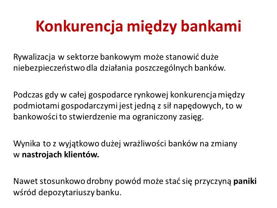 Konkurencja między bankami Rywalizacja w sektorze bankowym może stanowić duże niebezpieczeństwo dla działania poszczególnych banków. Podczas gdy w cał
