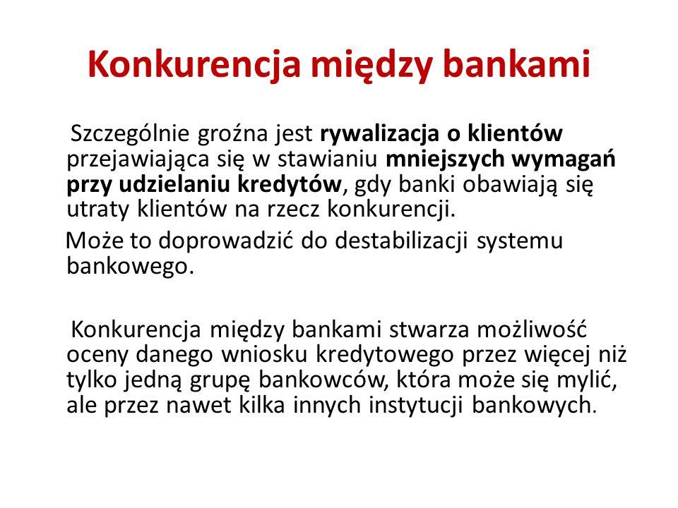 Konkurencja między bankami Szczególnie groźna jest rywalizacja o klientów przejawiająca się w stawianiu mniejszych wymagań przy udzielaniu kredytów, g