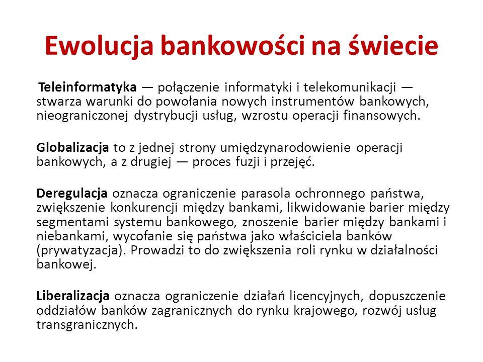 Ewolucja bankowości na świecie Teleinformatyka połączenie informatyki i telekomunikacji stwarza warunki do powołania nowych instrumentów bankowych, nieograniczonej dystrybucji usług, wzrostu operacji finansowych.