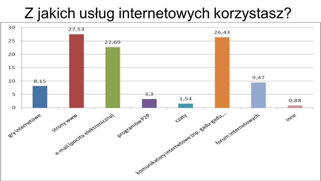Z jakich usług internetowych korzystasz?