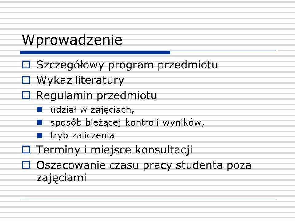 Wprowadzenie Szczegółowy program przedmiotu Wykaz literatury Regulamin przedmiotu udział w zajęciach, sposób bieżącej kontroli wyników, tryb zaliczeni