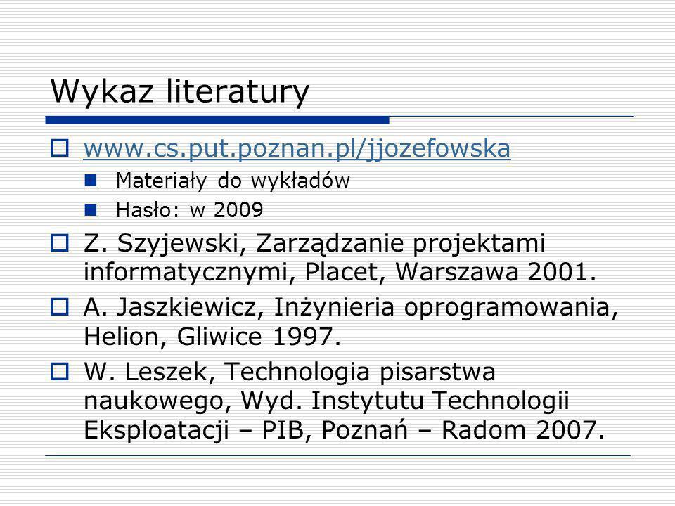 Wykaz literatury www.cs.put.poznan.pl/jjozefowska Materiały do wykładów Hasło: w 2009 Z. Szyjewski, Zarządzanie projektami informatycznymi, Placet, Wa