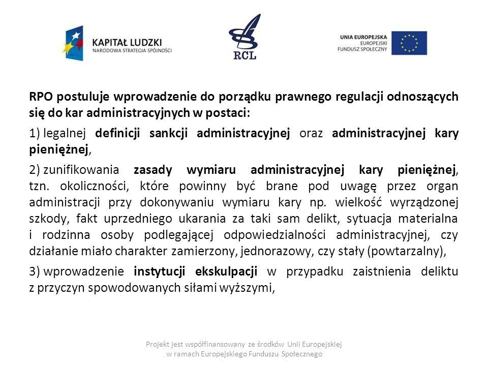 RPO postuluje wprowadzenie do porządku prawnego regulacji odnoszących się do kar administracyjnych w postaci: 1) legalnej definicji sankcji administra