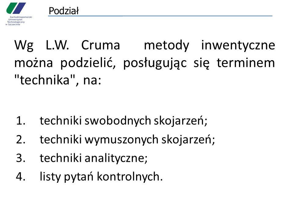 Podział Wg L.W. Cruma metody inwentyczne można podzielić, posługując się terminem