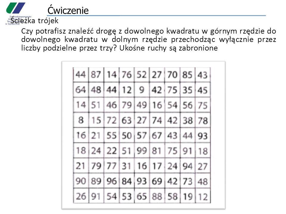 Ćwiczenie Ścieżka trójek Czy potrafisz znaleźć drogę z dowolnego kwadratu w górnym rzędzie do dowolnego kwadratu w dolnym rzędzie przechodząc wyłączni