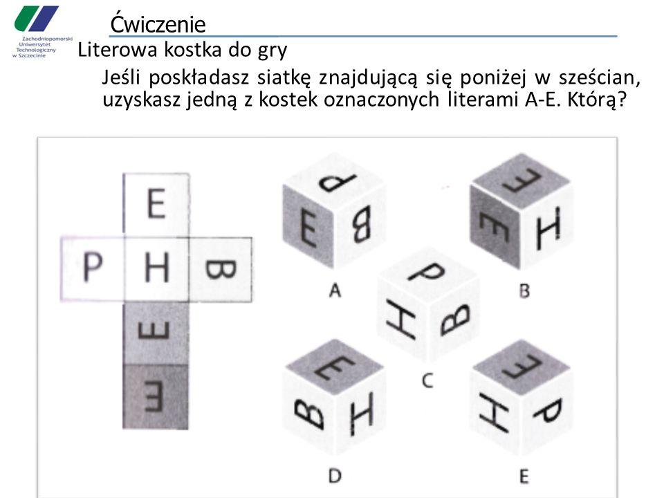 Ćwiczenie Literowa kostka do gry Jeśli poskładasz siatkę znajdującą się poniżej w sześcian, uzyskasz jedną z kostek oznaczonych literami A-E. Którą?