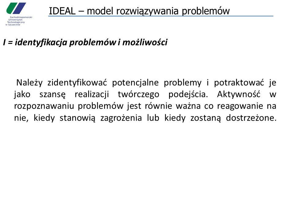 IDEAL – model rozwiązywania problemów I = identyfikacja problemów i możliwości Należy zidentyfikować potencjalne problemy i potraktować je jako szansę