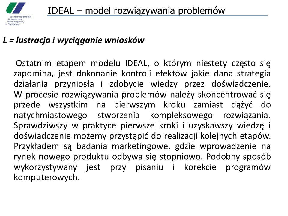 IDEAL – model rozwiązywania problemów L = lustracja i wyciąganie wniosków Ostatnim etapem modelu IDEAL, o którym niestety często się zapomina, jest do