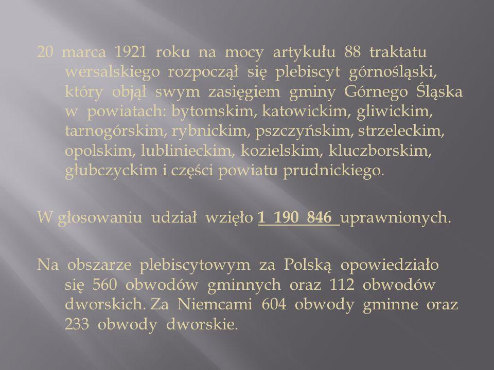 20 marca 1921 roku na mocy artykułu 88 traktatu wersalskiego rozpoczął się plebiscyt górnośląski, który objął swym zasięgiem gminy Górnego Śląska w po