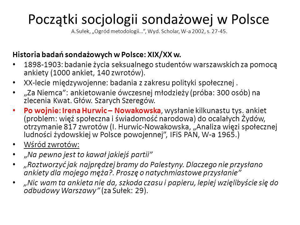 Początki socjologii sondażowej w Polsce A.Sułek, Ogród metodologii…, Wyd. Scholar, W-a 2002, s. 27-45. Historia badań sondażowych w Polsce: XIX/XX w.