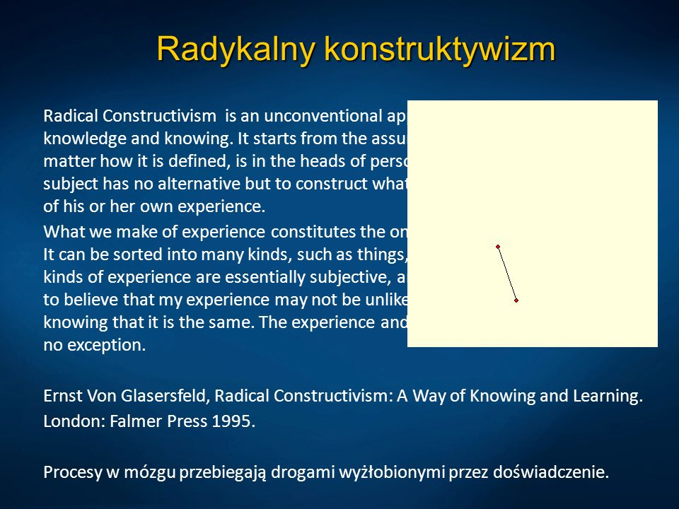 Radykalny konstruktywizm Radical Constructivism is an unconventional approach to the problem of knowledge and knowing. It starts from the assumption t