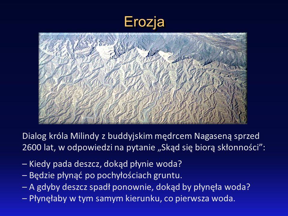 Erozja Dialog króla Milindy z buddyjskim mędrcem Nagaseną sprzed 2600 lat, w odpowiedzi na pytanie Skąd się biorą skłonności: – Kiedy pada deszcz, dok