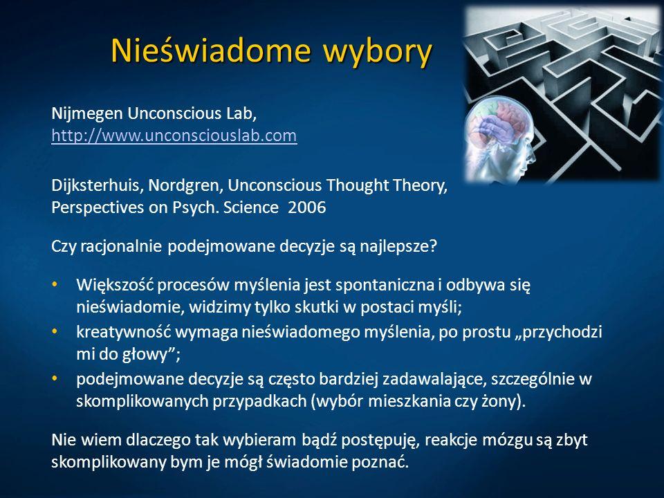 Nieświadome wybory Nijmegen Unconscious Lab, http://www.unconsciouslab.com http://www.unconsciouslab.com Dijksterhuis, Nordgren, Unconscious Thought T