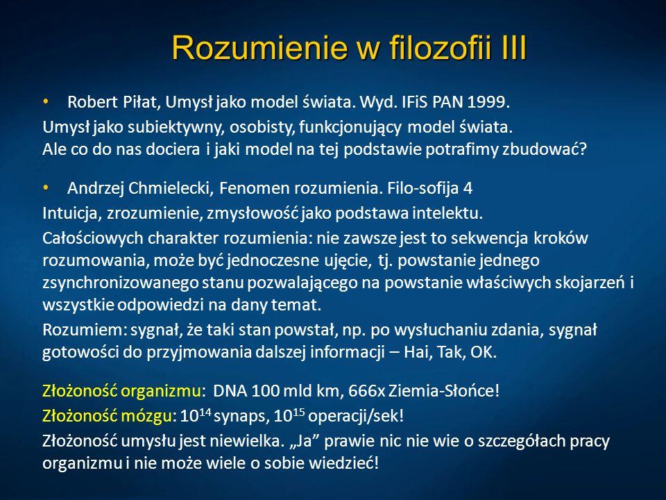 Rozumienie w filozofii III Robert Piłat, Umysł jako model świata. Wyd. IFiS PAN 1999. Umysł jako subiektywny, osobisty, funkcjonujący model świata. Al