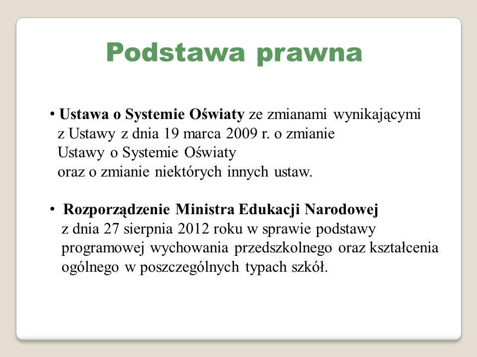 Podstawa prawna Ustawa o Systemie Oświaty ze zmianami wynikającymi z Ustawy z dnia 19 marca 2009 r. o zmianie Ustawy o Systemie Oświaty oraz o zmianie