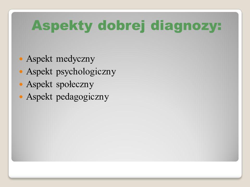 Aspekty dobrej diagnozy: Aspekt medyczny Aspekt psychologiczny Aspekt społeczny Aspekt pedagogiczny