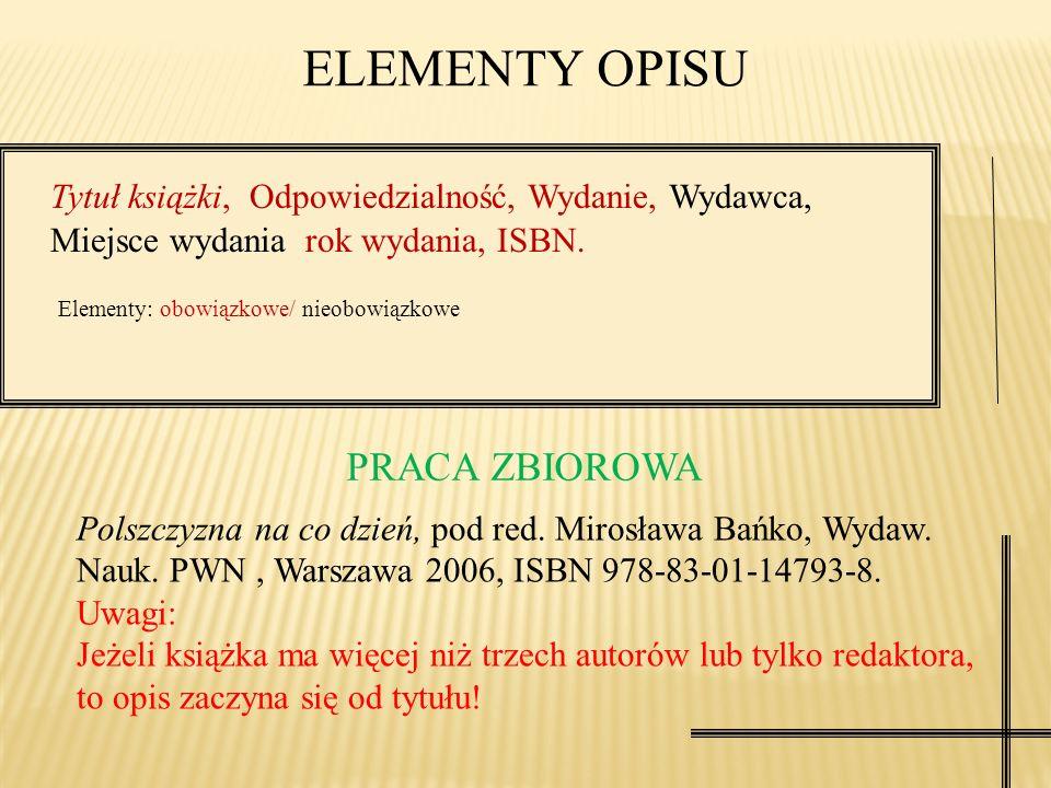 Nazwisko imię autorów książki, Tytuł książki, Wydanie, Wydawca, Miejsce wydania, rok wydania, ISBN. Elementy: obowiązkowe/ nieobowiązkowe ELEMENTY OPI