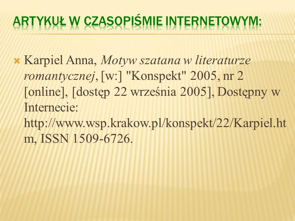 Hłasko Marek, Ósmy dzień tygodnia [online], [dostęp 19 września 2005], Dostępny w Internecie: http://www.literatura.za pis.net.pl/okresy/wspolczesnosc