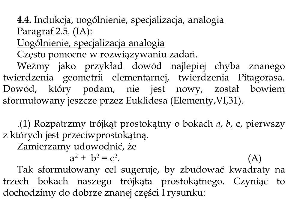 4.4. Indukcja, uogólnienie, specjalizacja, analogia Paragraf 2.5. (IA): Uogólnienie, specjalizacja analogia Często pomocne w rozwiązywaniu zadań. Weźm