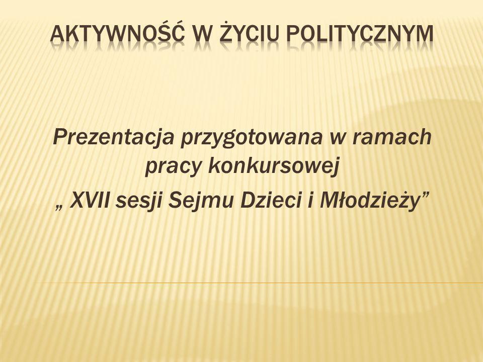 Prezentacja przygotowana w ramach pracy konkursowej XVII sesji Sejmu Dzieci i Młodzieży