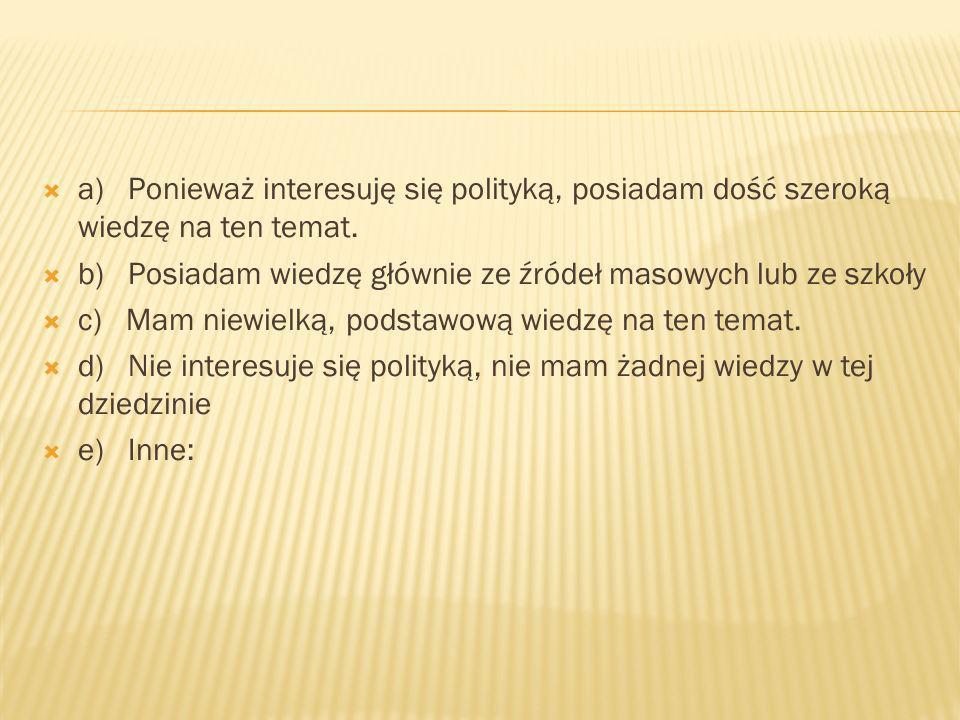 a) Ponieważ interesuję się polityką, posiadam dość szeroką wiedzę na ten temat.
