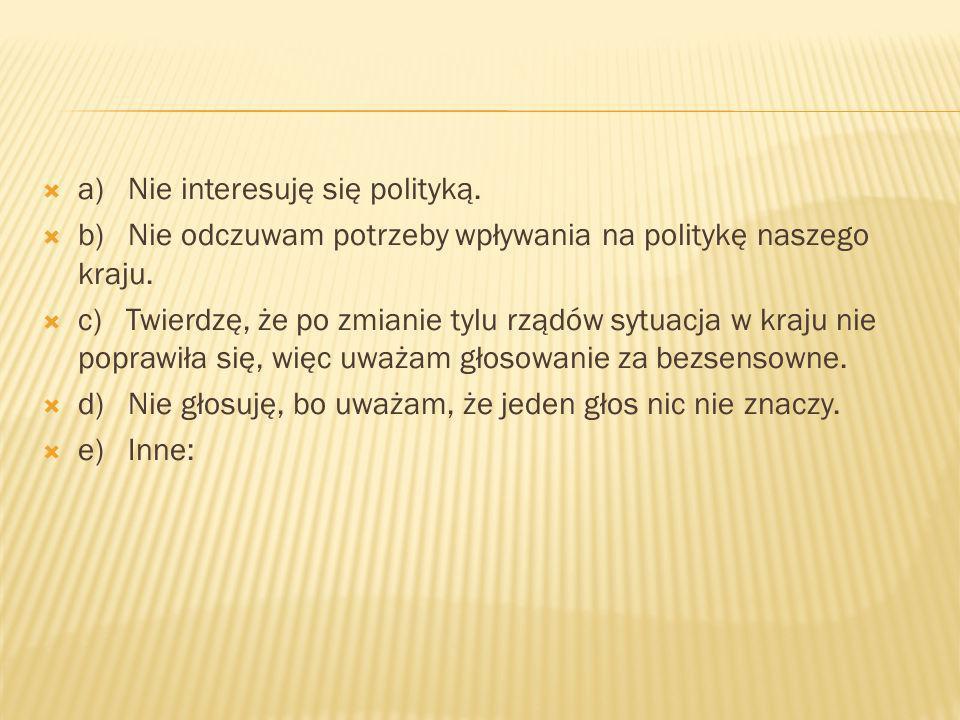 a) Nie interesuję się polityką. b) Nie odczuwam potrzeby wpływania na politykę naszego kraju.