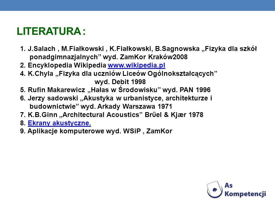LITERATURA : 1. J.Salach, M.Fiałkowski, K.Fiałkowski, B.Sagnowska Fizyka dla szkół ponadgimnazjalnych wyd. ZamKor Kraków2008 2. Encyklopedia Wikipedia