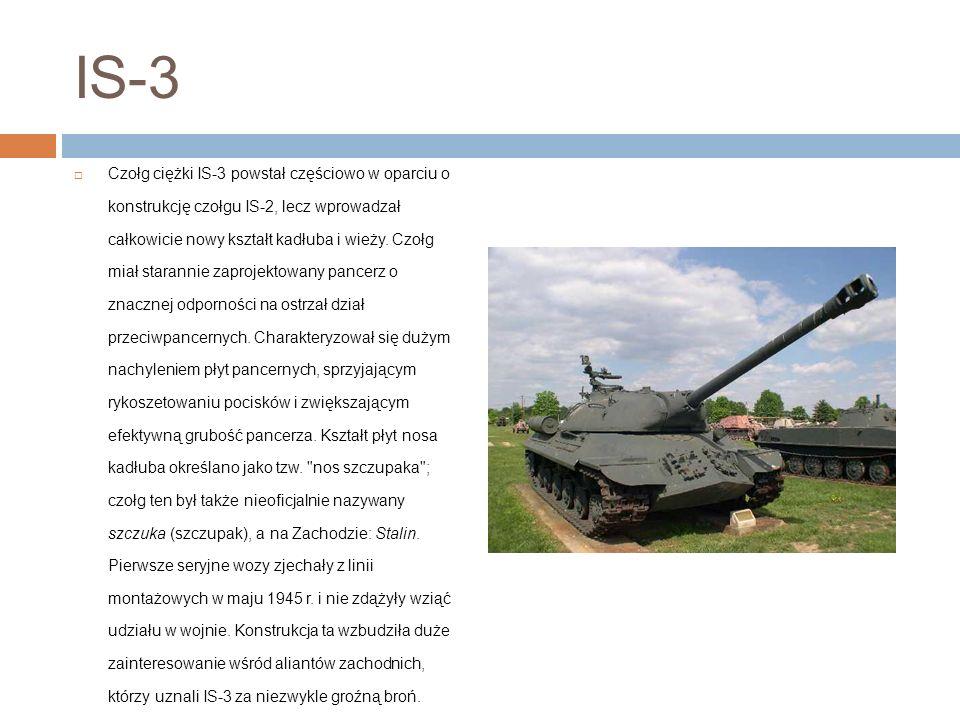 IS-3 Czołg ciężki IS-3 powstał częściowo w oparciu o konstrukcję czołgu IS-2, lecz wprowadzał całkowicie nowy kształt kadłuba i wieży.