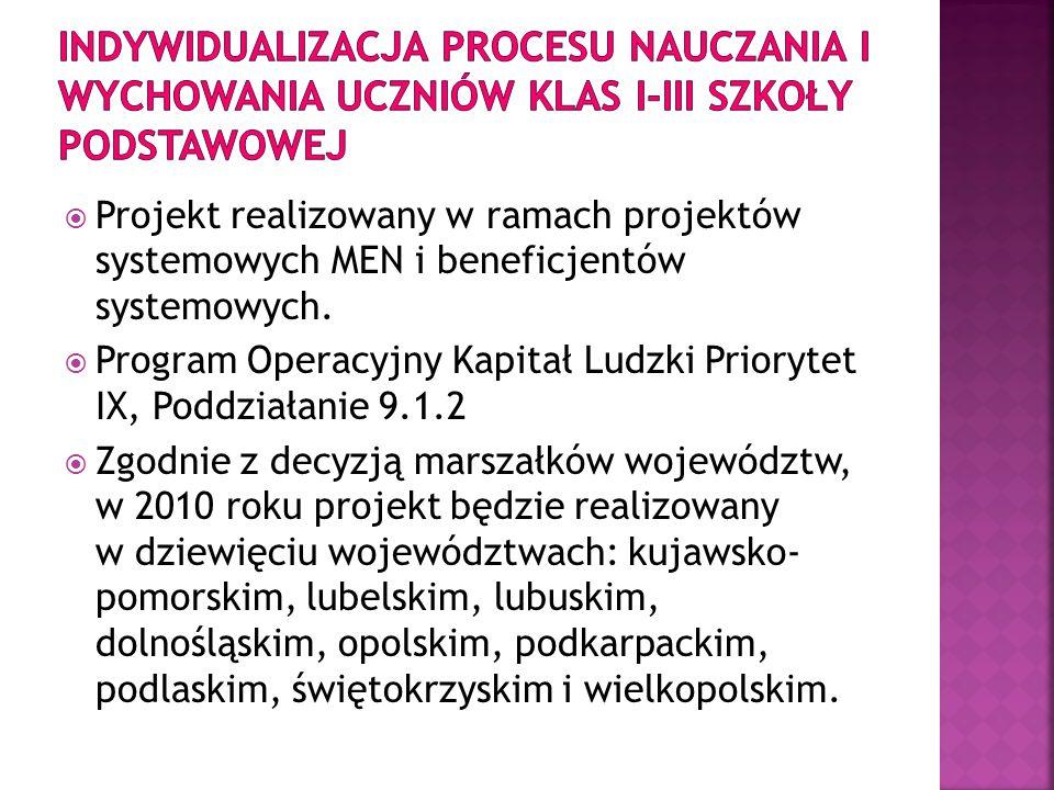 Projekt realizowany w ramach projektów systemowych MEN i beneficjentów systemowych. Program Operacyjny Kapitał Ludzki Priorytet IX, Poddziałanie 9.1.2