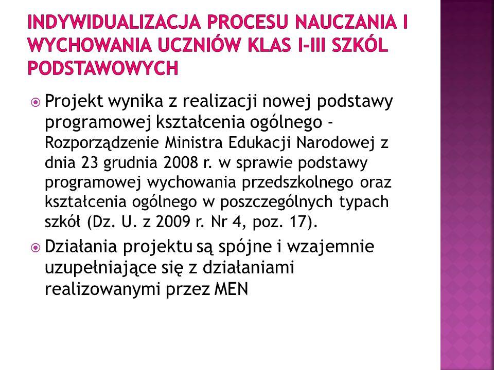 Projekt wynika z realizacji nowej podstawy programowej kształcenia ogólnego - Rozporządzenie Ministra Edukacji Narodowej z dnia 23 grudnia 2008 r. w s