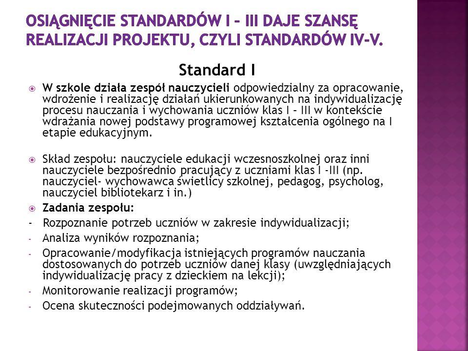 Standard I W szkole działa zespół nauczycieli odpowiedzialny za opracowanie, wdrożenie i realizację działań ukierunkowanych na indywidualizację proces