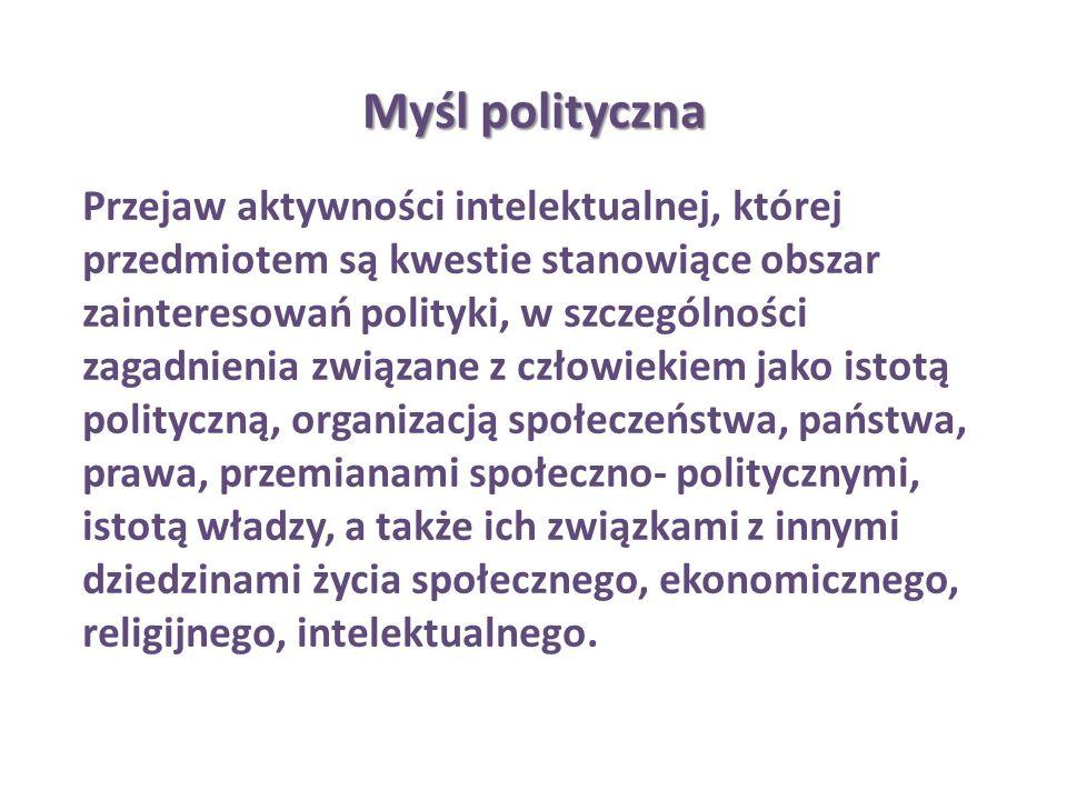 Myśl polityczna Przejaw aktywności intelektualnej, której przedmiotem są kwestie stanowiące obszar zainteresowań polityki, w szczególności zagadnienia