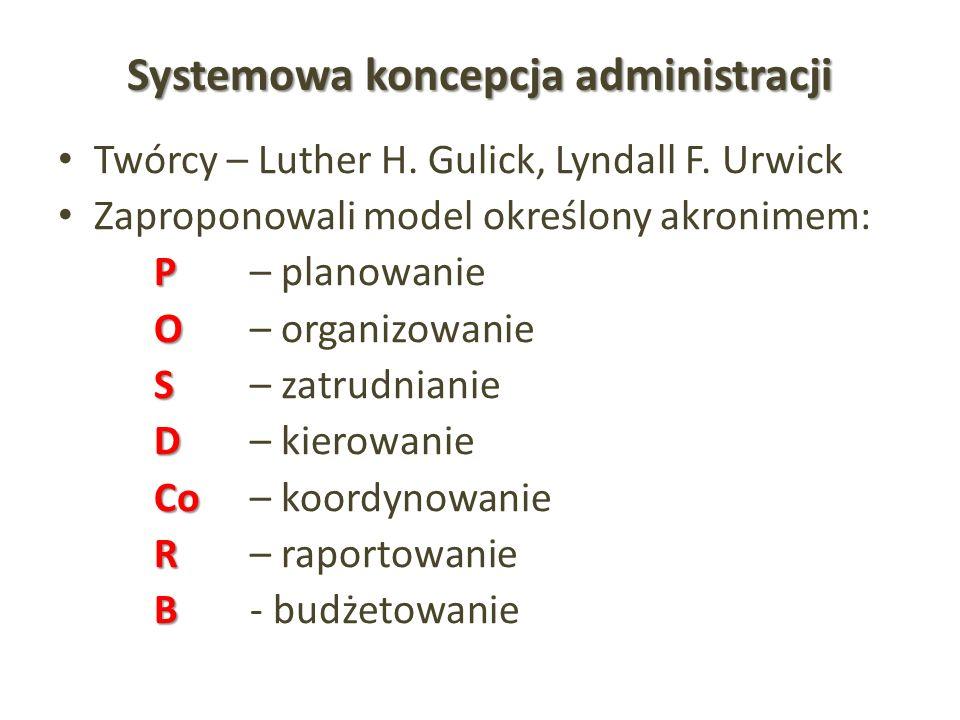 Systemowa koncepcja administracji Twórcy – Luther H. Gulick, Lyndall F. Urwick Zaproponowali model określony akronimem: P P – planowanie O O – organiz